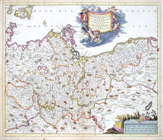 Marchionatus Brandenburgensis in quo sunt vetus, media et nova Marchia et Ducatus Pommeraniae tabula qua est pars - Antique map