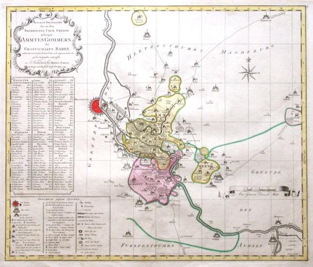 Accurate Delineatio des zu dem Saechsischen Chur Creisse gehörigen Ammtes Gommern der Graffschafft Barby - Antique map