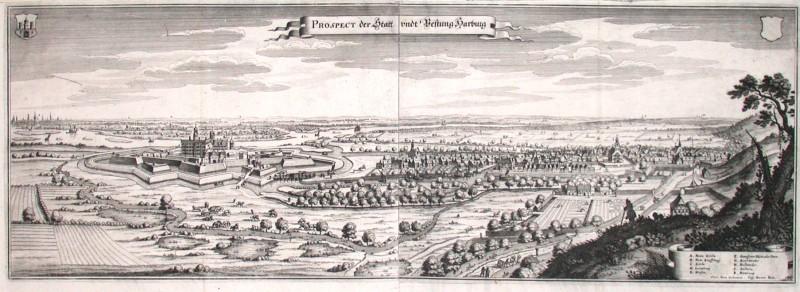 Prospect der Statt undt Vestung Harburg - Alte Landkarte