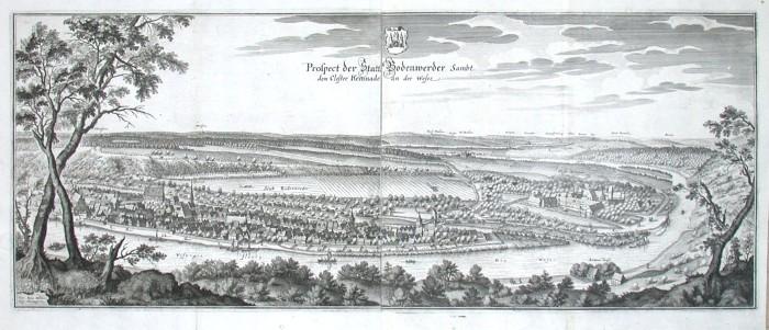 Proscpect der Statt Bodenwerder Sambt dem Closter Kemnade an der Weser - Alte Landkarte
