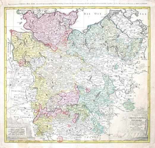 Repraesentationem  Circuli Saxonici Inferioris - Alte Landkarte