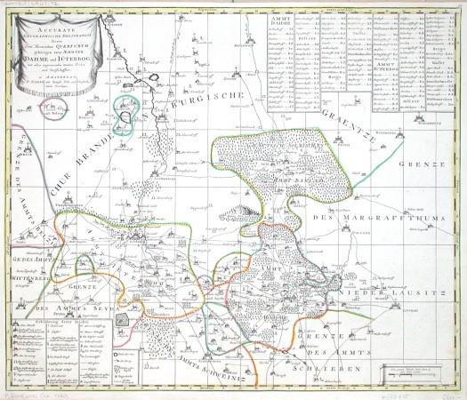 Accurate Geographische Delineation Der Aemmter Dahme und Iüterbog - Antique map