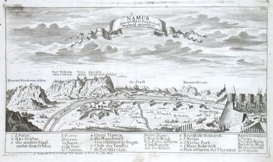 Namur von der Maas Seiten nach Braband anzusehen - Alte Landkarte