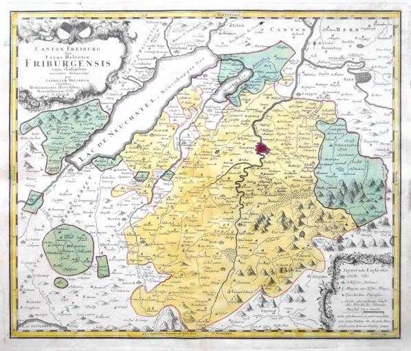 Canton Freiburg - Alte Landkarte