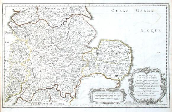 Anciens Royaumes de Mercie, et East-Angles - Alte Landkarte