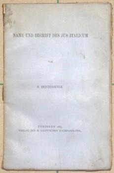 Name und Begriff des Jus italicum.