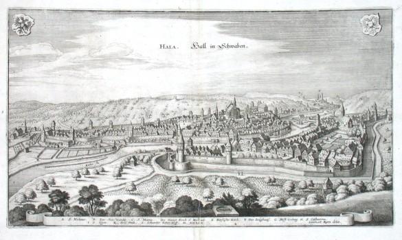 Hala. Hall in Schwaben - Alte Landkarte