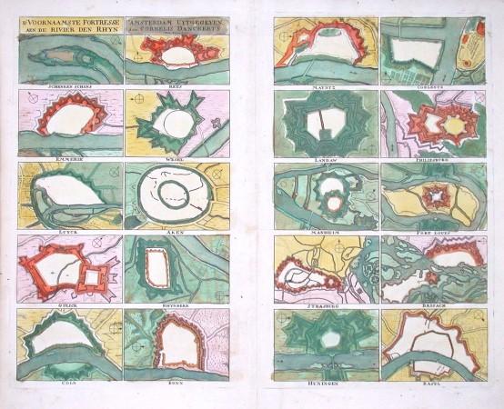 D'Voornaamste Fortresse aen de Rivier den Rhyn - Stará mapa