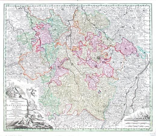 Lotrinsko - Mappa Geographica in qua Ducatus Lotharingiae et Barr ut et Episcopatuum Metens. Tullens. Verdunens - Stará mapa