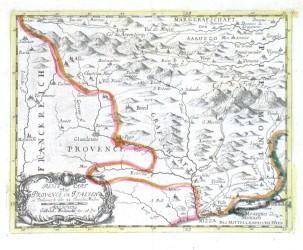 Reise Cart aus Provence in Italien - Alte Landkarte