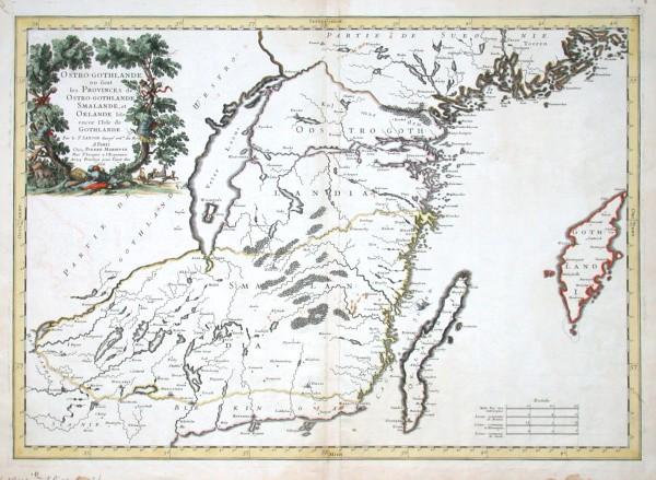 Ostro-gothlande ou sont les Provinces de Ostro-gothlande, Smalande, et Oelande Isle encor l'Isle de Gothlande - Stará mapa