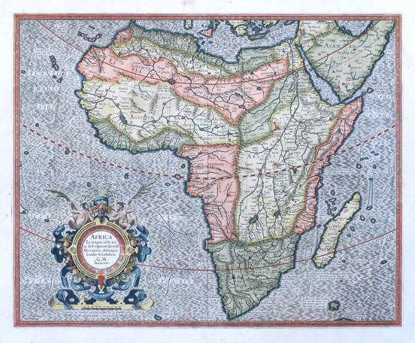 Africa Ex magna orbis terre descriptione Gerardi Mercatoris desumpta, Studio & industria G. M. Iunioris - Stará mapa