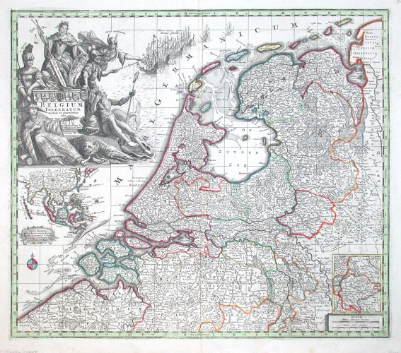 Niederlande - Belgium foederatum auctius - Alte Landkarte