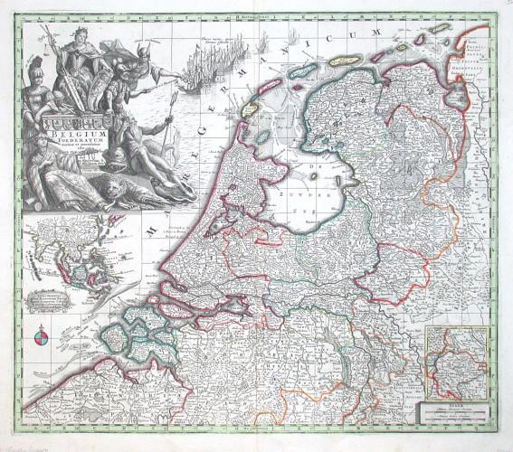 Netherlands - Belgium foederatum auctius - Antique map