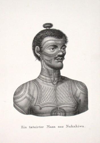 Ein tatuirter Mann aus Nukahiwa - Alte Landkarte