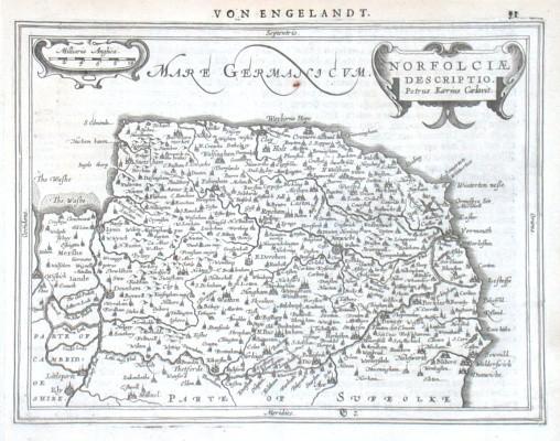 Norfolciae Descriptio - Alte Landkarte