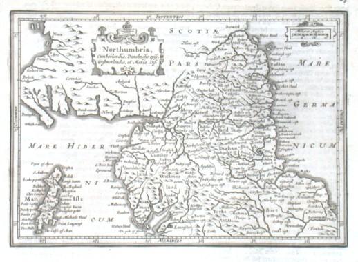 Northumbria, Cumberlandia, Dunelmensis episc. Westmorlandia, et Mania Ins. - Alte Landkarte