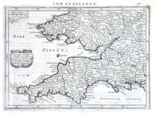 Cornubia, Devonia, Somersetus - Stará mapa