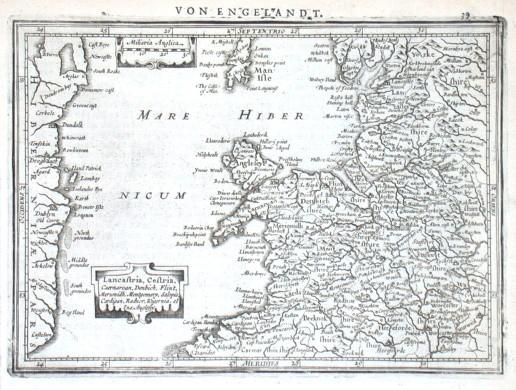 Lancastria, Cestria, Caernarvan - Antique map
