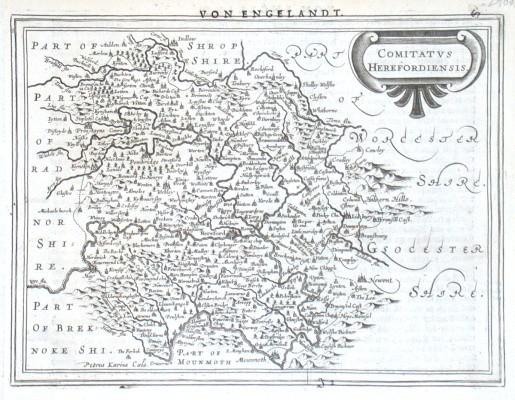 Comitatvs Herefordiensis - Stará mapa