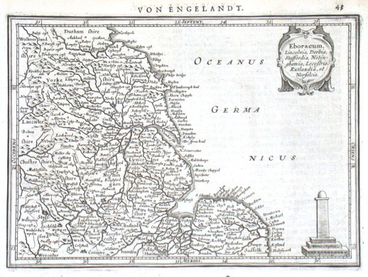 Eboracum, Lincolnia, Derbia - Alte Landkarte