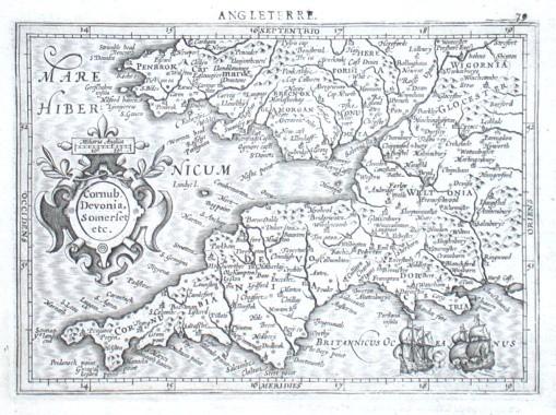 Cornub. Devonia, Somerset etc. - Alte Landkarte