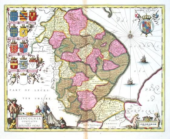 Lincolnia Comitatvs Anglis Lyncolne Shire - Alte Landkarte
