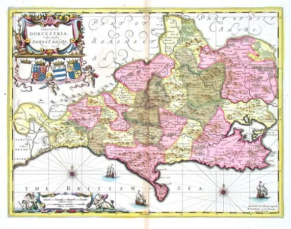 Comitatvs Dorcestria. Vulgo Anglice Dorset Shire - Stará mapa