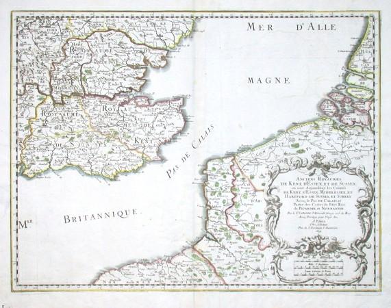 Anciens Royaumes de Kent, d'Essex, et de Sussex: ou sont - Stará mapa