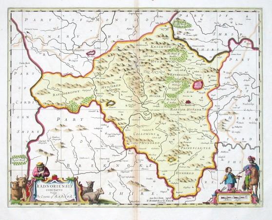 Radnoriensis comitatvs Vulgo The Countie of Radnor - Stará mapa