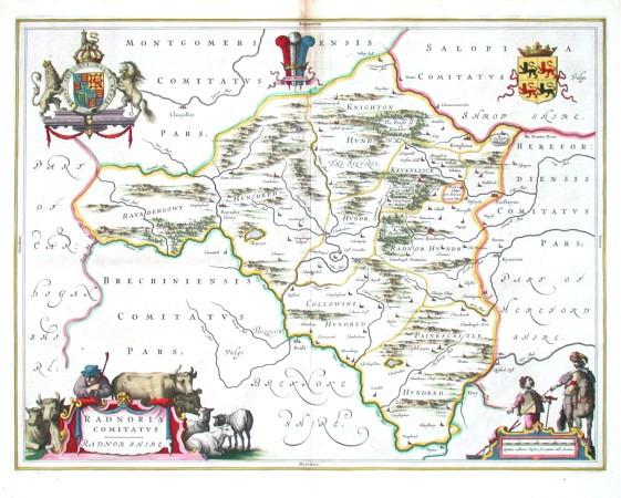 Radnoria comitatvs. Radnor shire - Alte Landkarte
