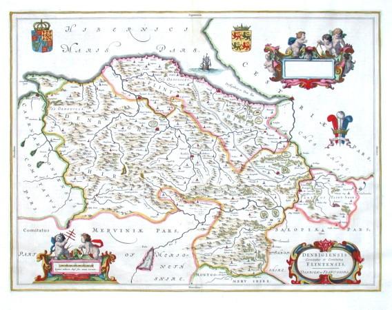 Denbigiensis Comitatus et Comitaus Flintensis. Denbigh at Flintshire - Alte Landkarte
