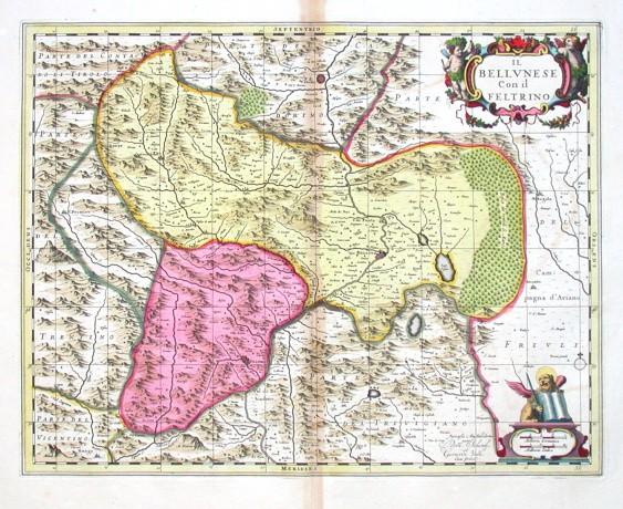 Il Bellvnese Con il Feltrino - Antique map