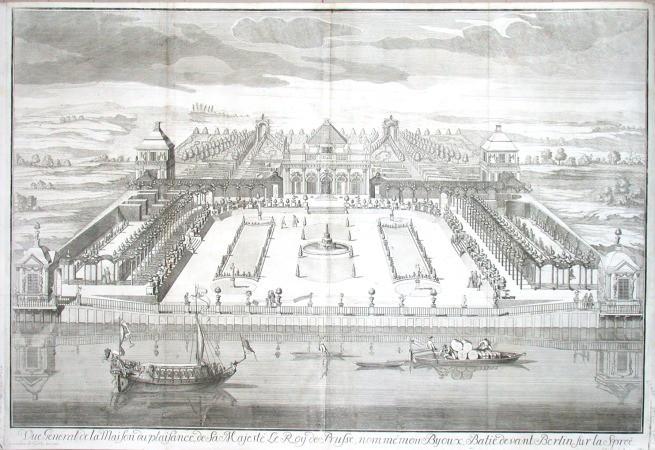 Vue General de la Maison du plaisance, de la Majesté Le Roy de Prusse, nommé monByoux, Batie devant Berlin sur la Spreé