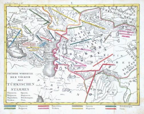 Frühere Wohnsitze der Völker des Türkischen Stammes - Stará mapa