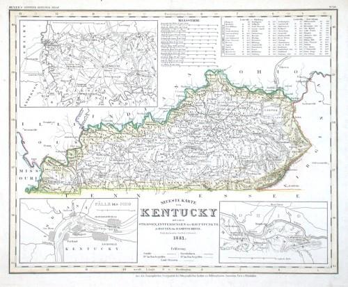 Neueste Karte von Kentucky - Stará mapa