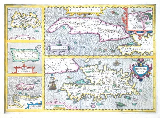 Cuba Insula. Hispaniola Insula. Insula Iamaica. Ins. s. Ioannis. I. s. Margareta cum confiniis - Alte Landkarte