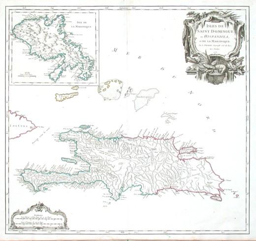 Isles de Saint Dominigue ou Hispaniola et de la Martinique - Stará mapa