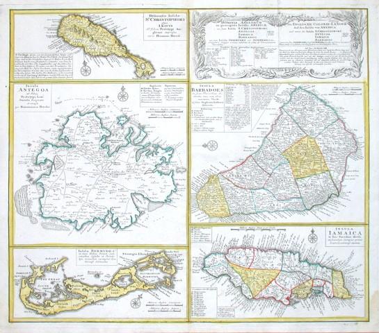Dominia Anglorum in praecipuis Insulis Americae  - Die Englische Colonie-Laender Auf den Isuln von America - Alte Landkarte