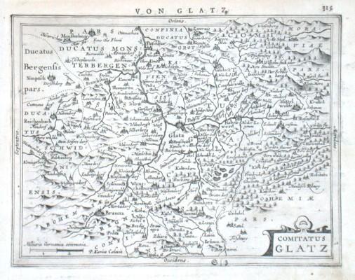 Comitatus Glatz - Stará mapa