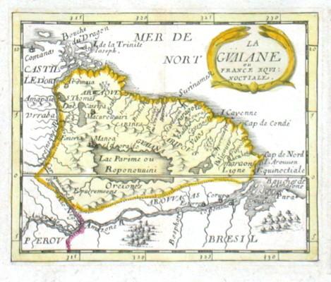 La Gvaine ou France Eqvinoctiale - Alte Landkarte