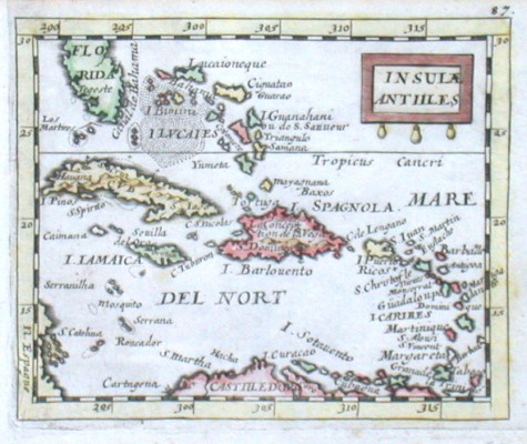 Insulae Antilles - Stará mapa
