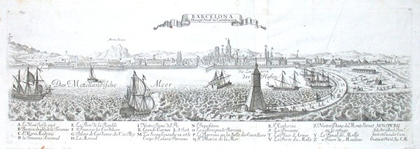 Barcelona, die Haupt Statt in Catalonien - Stará mapa