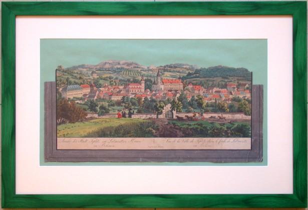 Ansicht der Stadt Teplitz im Leitmeritzer Kreise in Böhmen - Alte Landkarte