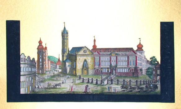 Teplice - zámek - Antique map