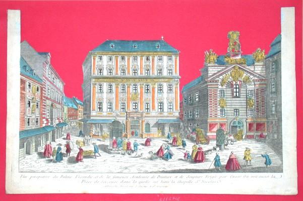 Vue perspective du Palais Visendic et de la fameuse Academie de Peinture et de - Alte Landkarte