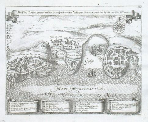 Abriss der Dreijen  Vestungen Monaco, Capo di Sant Spirito und Niza di Provenza - Alte Landkarte