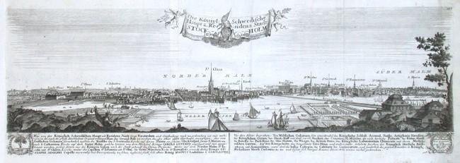 Die Königl: Schwedische Haupt u. Ressidenz Stadt Stockholm - Alte Landkarte