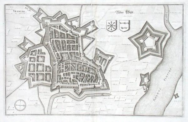 Vesalia - Nider Wesel - Alte Landkarte