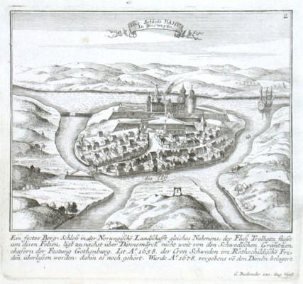 Das Schloss Bahus In Norwegen - Alte Landkarte